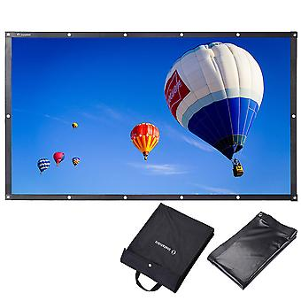 """Instahibit 84"""" 16:9 Portable Front Projection Screen Foldable PVC 3D 4K HD with Holes Home Theater Yard Camping"""