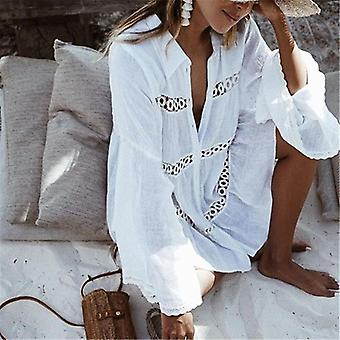Women Swimsuit Cover Up Sleeve Kaftan Beach Tunic Dress