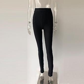 Office Pants High Waist Gestreepte Broek Vrouwen Side Split Ol Style