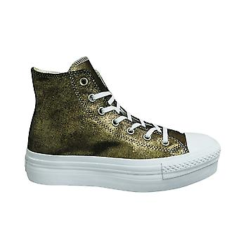 Converse Chunk Taylor All Stars Platform Hi Gold Lace Up Womens Trainers 541362C