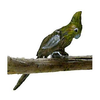 Dolls House Grey Cockatiel Falcon Miniature Bird Garden Aviary Cage Accessory