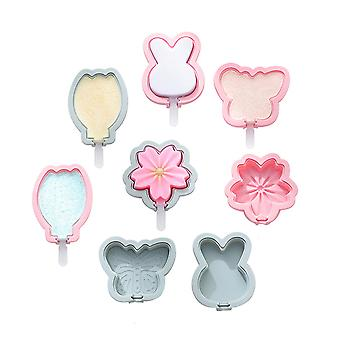 8pcs 4 Different Designs Ice Cream Lolly Mould With Lid