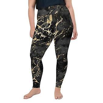Plus storlek svart guld marmor leggings