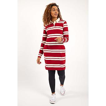 Ava algodón orgánico rayas rugby vestido chile rojo