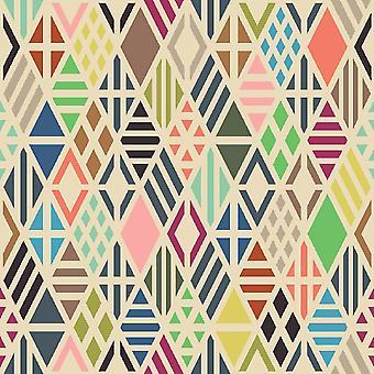 Alfombra impreso pinturas cuadriláteros multicolores en poliéster, algodón, L80xP200 cm