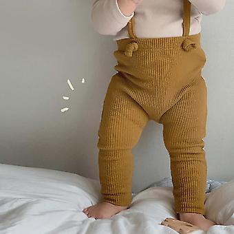 Infant Kids Salopete Skinny Pants, Nou-născut Baby / fete Ribbed Jumpsuit