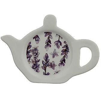 Prato/suporte de chá de porcelana - campos de lavanda