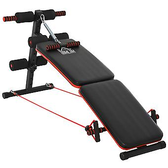 HOMCOM Sit Up Bench Core Workout Adjustable Thigh Support Foldable for Home Gym w/ Arm Pulling Rope Black
