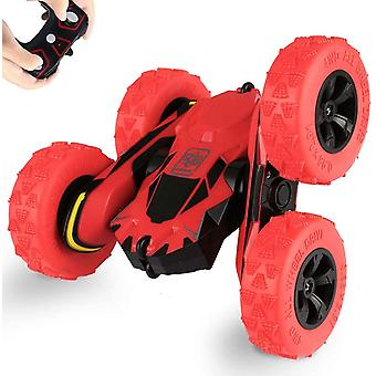 DZK Remote Control Car Truck 4WD RC Stunt Car 2.4Ghz Double Sided Rotating 360 Flips 7.5Mph Racing