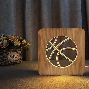 قاد خشبية نحت ليلة ضوء USB السلطة نمط كرة السلة t1977w