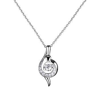 Sterling silver pendant rotatable zirconia sparkle pendant necklace 18 inch