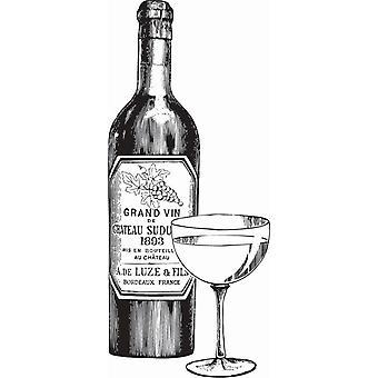 Hampton Art Wood Mounted Stamp - Wine Bottle