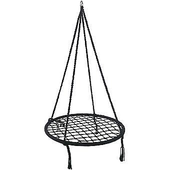 Wiszące krzesło bawełna - Huśtawka gniazda - 80 cm - Czarny