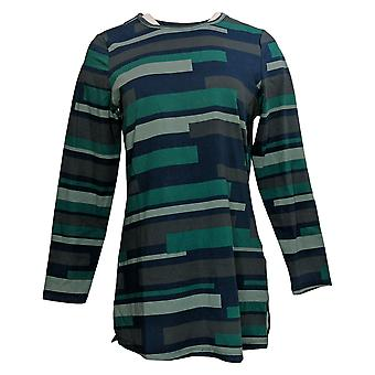 Denim & Co. Women's Top Striped Round Neck Long Sleeve Tunic Blue A298777