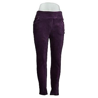 Denim & Co. Leggings Smooth Waist Knit Cord Pull On Purple A388785
