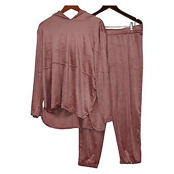 Carole Hochman Jogger Petite Set Silky Stretch Velour Hoodie Pink A381874
