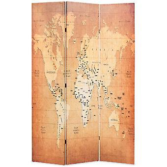 vidaXL غرفة مقسم قابل للطي 120 × 170 سم خريطة العالم الأصفر