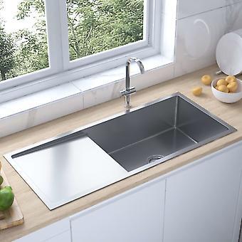 vidaXL Handmade built-in sink with sieve stainless steel