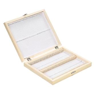 K100-Places Wooden Slide Storage Box with Numbered Slots Contents Sheet for Prepared Microscope Slides