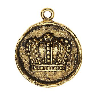 Nunn Design Charm, 20x24.5mm kruunu ympyrässä kehys, 1 kpl, Antiikki kultaa