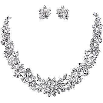 FengChun sterreichischen Kristal Blume Blatt Hochzeit Schmuck-Set klar Silber-Ton