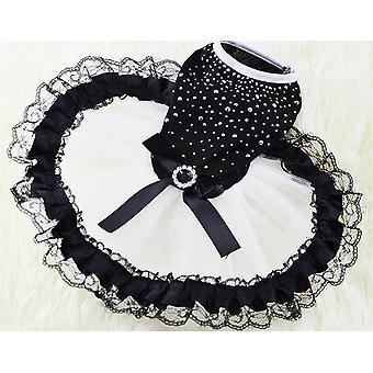 Hund Katze Kleidung Frühling Sommerkleid schwarz & Rhimestone Kleid Hochzeitszeremonie