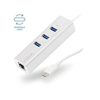 VROVA PLUS USB-C til Gigabit Ethernet - USB-hub-aluminium med tre porte