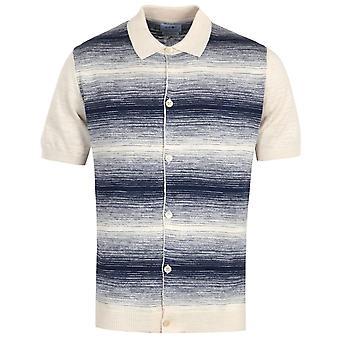NN07 Nolan Knitted Short Sleeve Shirt - Beige & Blue