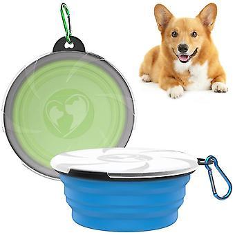 Klappbarer Hundenapf, 2 Stück Haustier Reisenapf mit Deckel und Haken Tragbare Silikon Fressnapf