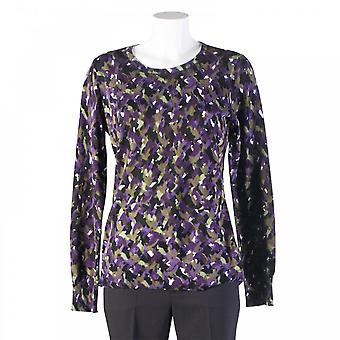 Oui Printed Long Sleeve Top With Elbow Patch