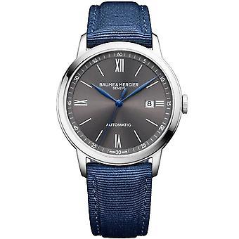 Baume & Mercier M0a10608 Classima Automatic Grey & Blue Canvas Mens Watch