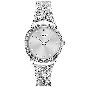 Seksy 40039 Rocks Stone Set Silver Steel & White Leather Bracelet Ladies Watch