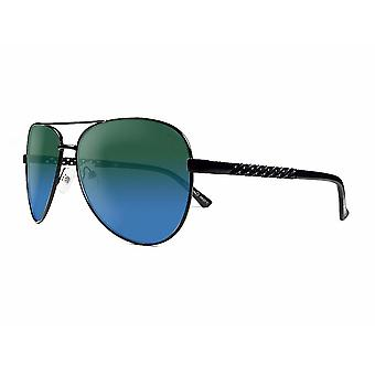 Ruby rocks metal dominica aviator sunglasses with embossed temple in black