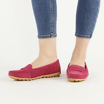 Shumo Nice Ladies Suede Leather Slip On Loafer Shoes Fuchsia