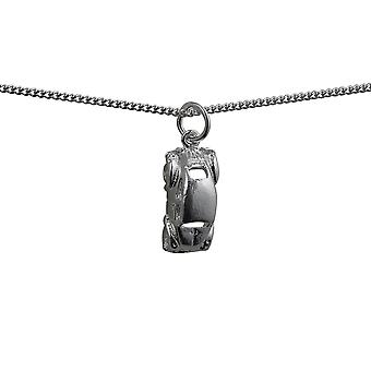 Silver 16x8mm VW Beetle Car Pendant with a curb Chain 24 inches