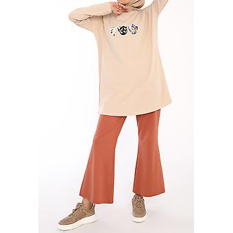 Tea Time Printed Long Sleeve T-shirt Tunic