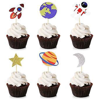 36 Pack Weltraum Cupcake Toppers Planet Party Bedarf Geburtstag Dekorationen Rakete Astronaut