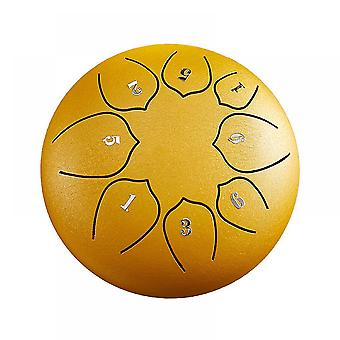 Steel Tongue Drum 8 Notes 6 Inches Metal Hand Drum Kit(Yellow)