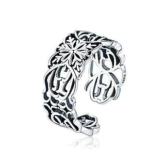 Silver plating Vintage Stackable Flower Open Size Finger Rings for Women Fashion Jewelry