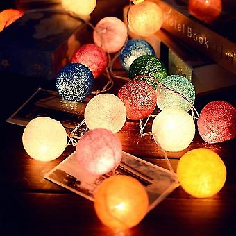 3m Led Cotton Ball Garland String Fairy Lights Decoration Set 8