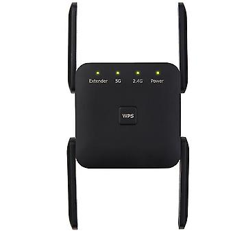 Black eu plug antenna signal booster,2.4 5g dual band wireless extender repeater 1200m wifi booster amplifier zf0263