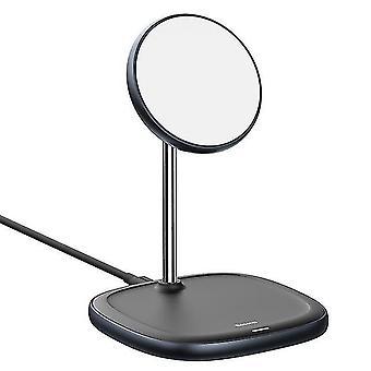 أسود لوحة مغناطيسية سطح المكتب الشحن اللاسلكي السريع لiPhone 12 برو ماكس حامل الهاتف المحمول