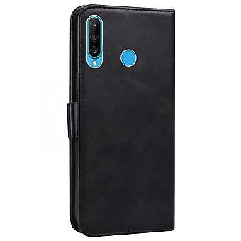 Case For Huawei P30 Lite Wallet Flip Pu Leather Cover Card Holder Coque Etui - Black Cat