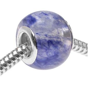 Glass European Style Large Hole Bead - Blue Blueberry Quartz 14mm (1)