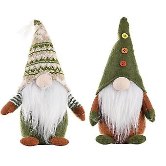Yesfit Christmas Decorations Knitted Non-woven Standing Faceless Doll Creative Santa Claus Ornaments