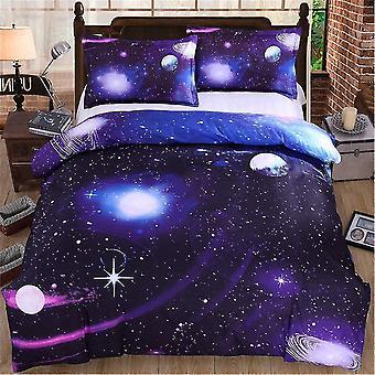 Täcktäcken Comforters Galaxy Påvet Omslag Set 3 stycken Vändbar Sky Universe Moon Tryckt Sängkläder Quilt