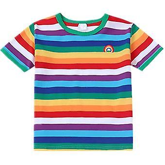 Mimigo Boys T-shirt Rainbow Short Sleeve O-neck 95% Cotton 5% Spandex Soft Comfortable Top