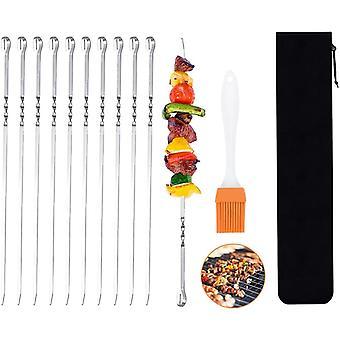 10pcs Grill spyd, 43cm Bbq spyd, rustfrit stål store flade spyd Spar til kødfrugt vegetabilsk safe, silikone børste, holdbar snor