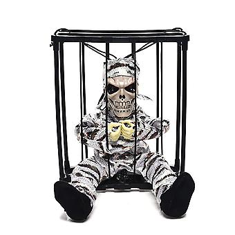 Halloween Decorations Cage Ghost Pendant Electric Tricky Props Glowing Toy Cage