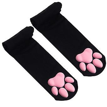 Oberschenkelhohe Socken Süße Katzenpfotenpolster Strümpfe für Mädchen und Frauen
